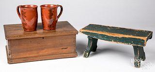 Pine dresser box, 19th c., etc.