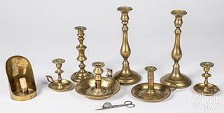 Group of brass candlesticks, 19th and 20th c.