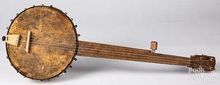 Homemade folk art banjo, ca. 1900