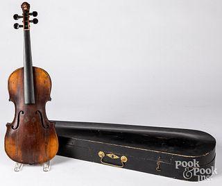 Folk art carved violin, 19th c.