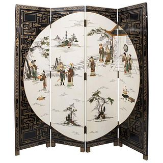 Asian Chinese Screen, Mid Century Chinese 4 Fold Hand Painted Screen
