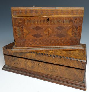 Two Parquetry Inlaid Boxes
