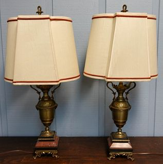 Pair Bronze and Marble Table Lamp