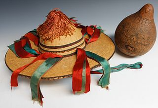 South American Woven Hat and Carved Gourd