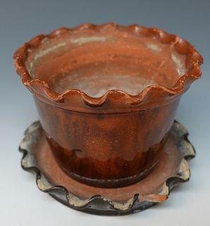 Pennsylvania Redware Flowerpot