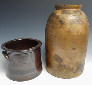 Two Antique Stoneware Crocks