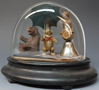 Glass Dome with Bear Figures