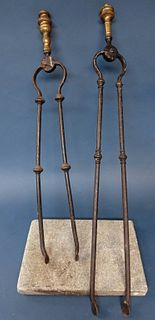 Two Fire Tongs and Marble Rest