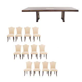 Comedor. SXX. Consta de: Mesa. Elaborada en madera. Cubierta rectangular. Soportes tipo caballete. 12 sillas.