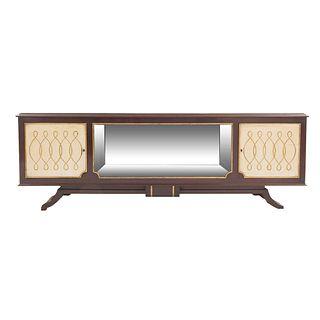 Trinchador. SXX. Elaborado en madera. Con puertas deslizables de cristal y soportes semicurvos.