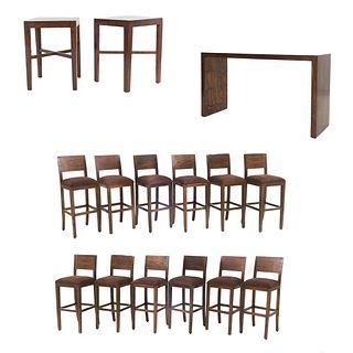 Set de muebles para bar. SXXI. Elaborado en madera Consta de 12 Sillas altas. Con respaldos semiabiertos y 3 mesas.
