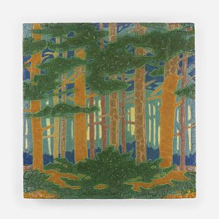 Addison LeBoutillier for Grueby Faience Company, The Pines tile