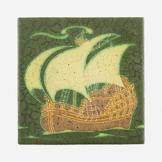 Grueby Faience Company, Tile with schooner