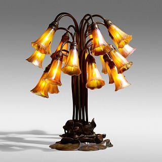 Tiffany Studios, Eighteen-light Lily table lamp