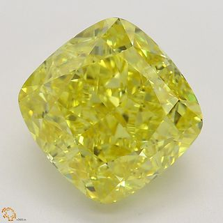 5.56 ct, Natural Fancy Vivid Yellow Even Color, VVS2, Cushion cut Diamond (GIA Graded), Appraised Value: $1,134,200