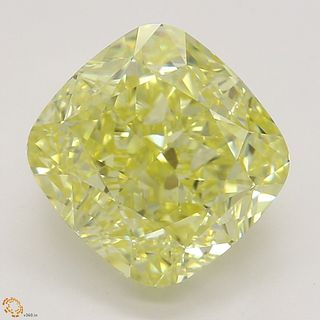2.73 ct, Natural Fancy Intense Yellow Even Color, VVS2, Cushion cut Diamond (GIA Graded), Appraised Value: $91,100