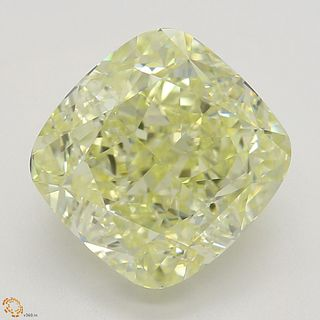 4.17 ct, Natural Fancy Light Yellow Even Color, VVS1, Cushion cut Diamond (GIA Graded), Appraised Value: $90,900