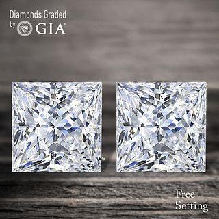 4.08 carat diamond pair Princess cut Diamond GIA Graded 1) 2.01 ct, Color D, VS1 2) 2.07 ct, Color D, VS1. Appraised Value: $121,400