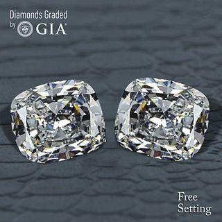 5.02 carat diamond pair Cushion cut Diamond GIA Graded 1) 2.51 ct, Color D, VS1 2) 2.51 ct, Color D, VS1. Appraised Value: $149,400