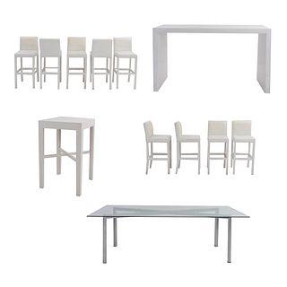Set de muebles para bar. SXXI. Elaborado en madera y aluminio Consta de 9 Sillas altas. Con respaldos cerrados y 3 mesas.