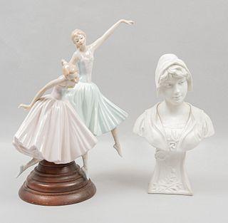Lote de artículos decorativos. SXX. Consta de: Busto de dama. Francia. Elaborado en porcelana, acabado gres. Otro. Piezas: 2