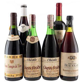 Lote de Vino Tinto de Francia y España. Beaujolais-Villages. Gran Sangre de Toro. Gran Feudo. Estola. Total de Piezas: 6.