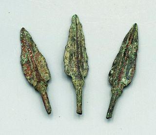 (3) Bronze Elamite Arrowheads - Luristan