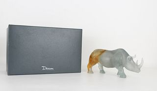Large Daum France Rhino with Original Fitted Box