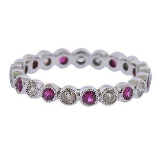 18k Gold Diamond Ruby Wedding Band Ring