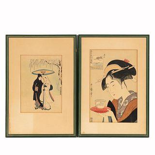PAIR, JAPANESE WOODBLOCK PRINTS, FRAMED