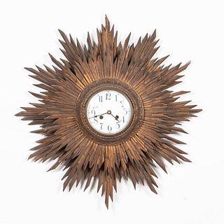 PARCEL GILT DOUBLE SUNBURST-FORM WALL CLOCK