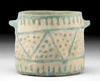 Rare Egyptian Glazed Faience Jar w/ Geometric Motif