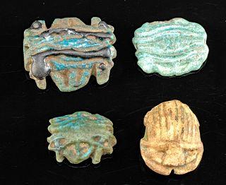 Egyptian Glazed Faience Amulets - Scarab & Wadjets (4)
