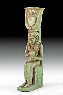 Egyptian Faience Isis & Horus Pendant w/ Inscription
