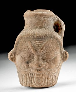 Romano-Egyptian Pottery Jar - Head of Bes