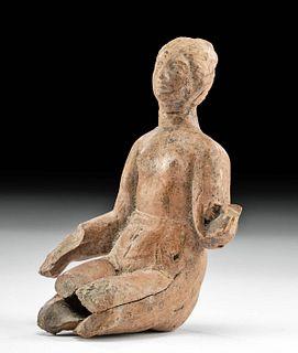 Greek Hellenistic Pottery Seated Female Votive Figure