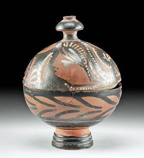 Apulian Pottery Red Figure Globular Pyxis w/ Lid