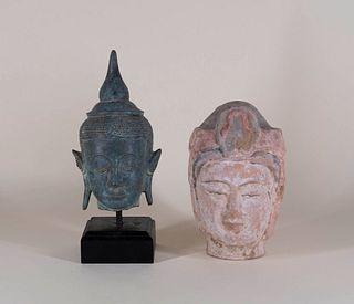 Bronze Buddha Head and Terracotta Head