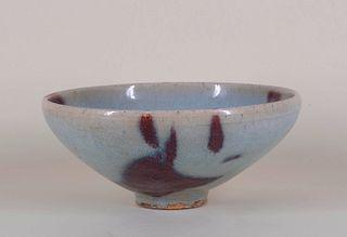Large Jun Ware Bowl with Purple Manganese Splashes
