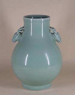 Celadon Porcelain 'Stag's Head' Baluster Vase