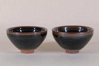 Two Jian Ware Style Tea Bowls