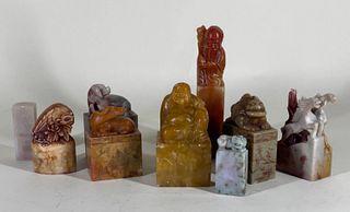 Group of Carved Hardstone Seals