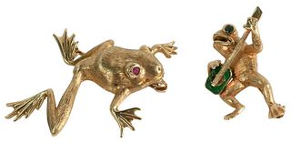 Two 14 Karat Gold Frog Brooches, each with colored eyes, 14.6 grams.