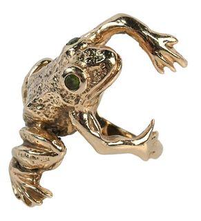 14 Karat Gold Frog Ring, 17.8 grams, size 8 1/2.