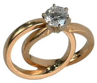 14 Karat Yellow Gold Engagement Ring, set with center brilliant cut diamond, approximately 1.2 carat, 6.57 mm, 8 grams total weight, size 4 1/2.
