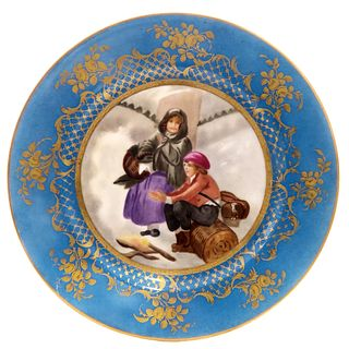 19th C. SEVRES HAND PAINTED PORCELAIN PLATE