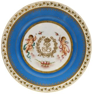 19th C. French Sevres Hand Painted Decorative Plate