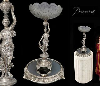 Large French Silver-Plated Figural Centerpiece/Plateau
