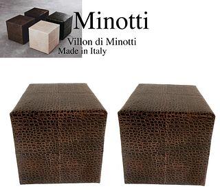 Pair of MINOTTI Villon Skin Leather Ottoman Cubic Seats