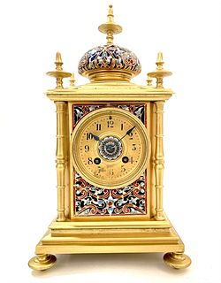 A French Champleve Enameled Bronze Clock